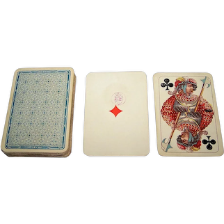 """Adolph Wulff """"L'Hombre No. 64"""" Playing Cards, C.L. Wüst """"Medieval"""" Pattern, c.1890"""