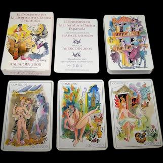 "Naipes Comas ""El Erotismo en la Literatura Clasica Espanola"" Playing Cards, Asecoin Publisher, Limited Edition (107/500), Rafael Munoa Designs, c.2005"