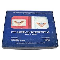 """AG Muller """"The American Bicentennial"""" Playing Cards w/Book, USGS Publisher, Douglas Gorsline Illustrations, c.1976"""