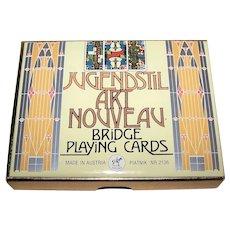 "Double Deck Piatnik ""Jugendstil Art Nouveau"" Playing Cards, Ditha Moser Designs, c.1980"