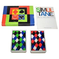 """Double Deck ASS """"Simultané"""" Playing Cards, Sonia Delaunay Designs, 2nd Edition, c.1980"""