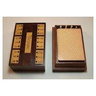 Bezique Card Box, Including Counters, w/ 2 Period Bezique Decks, c.1870
