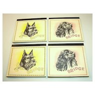 Set (4) Bridge Score Pads (Auction/Contract), Publisher Unknown, Scottish Terrier and Cocker Spaniel Dogs, c.1930