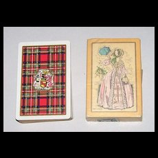 "2 Decks USPC Congress 606 Playing Cards, $15/ea.: (i) ""Stewart"" (Scottish Clan) c.1928; (ii) ""Melissa"" (""Fashionable Woman""), c.1929"