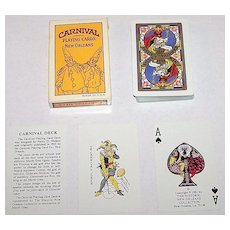 """Historic New Orleans Collection """"Carnival Deck"""" (Mardi Gras) Playing Cards, Maker Unknown, Reprint 1925 Harry Wallace Designs, c.1981"""