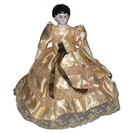 "Small 7"" China Head Doll with Original Cloth Body with Letters"