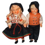 "Pair of 6"" Celluloid Boy and Girl Dolls, All Original"