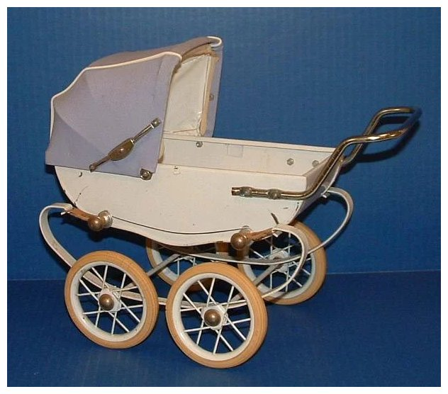 Vintage Doll Baby Buggy Pram Carriage With Emblem Red
