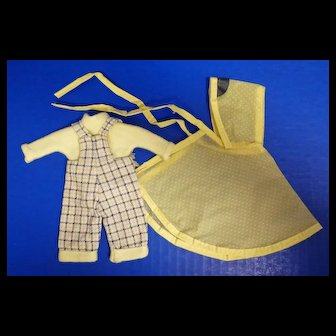 Vogue Ginny Doll Gym Kids Yellow Plaid Overalls Set and Yellow Raincoat