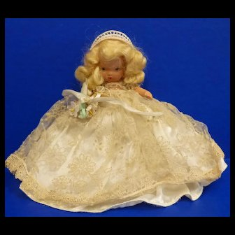 Nancy Ann Storybook Bisque Doll #86 Bride with Jointed Legs, Pudgy Tummy