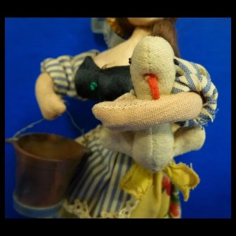 "Klumpe Roldan 7"" Doll with Duck and Pail, all original"