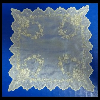 Antique French Fashion Doll Silk Hanky Handkerchief