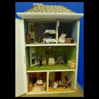 Cigar Box Doll House with Rooms Full of Miniatures