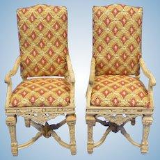 Pair of Bespaq Louis XIV Miniature Arm Chairs for Doll House