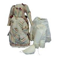Dress, Slip, Pantaloons for Small French Fashion or China Head Doll