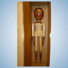 Fred Laughon Black Peg Wooden Doll in Original Box