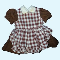Terri Lee Doll Brown Dress and Checked Gingham Pinafore
