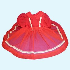Red Nylon Dress  for 1950's/1960's Hard Plastic Doll