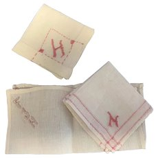 Three French Fashion or other Doll Hankies