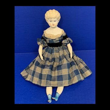 """11"""" Bisque China Head Doll with Molded Blonde Hair"""