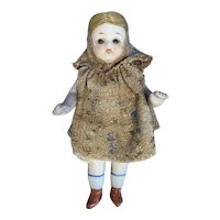 """4.5"""" All Bisque Doll with Brown Glass Eyes"""