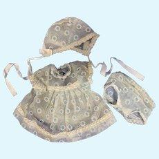 Sweet Organdy Baby Doll Dress, Panties & Bonnet