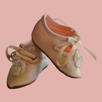 Rare silk pink Jumeau Shoes