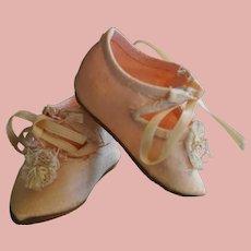 Rare silk pink Jumeau Shoes