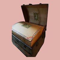 Large Antique Trunk Loaded with Sewing Material