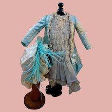 Lovely Aqua Blue Silk Dress and Bonnet