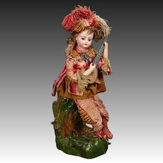 """French Musical Automaton """"Court Troubadour with Mandolin"""" by Vichy"""