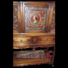 Large Ornate Cabinet with Painted Portrait and Provenance