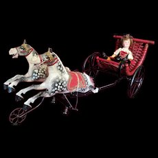 Charming French Mechanical Surrey and Lipizzan Horses