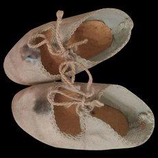 Antique blue cloth bebe shoes