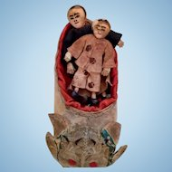 Asian Minature Folk art dolls in shoe. Very Unique