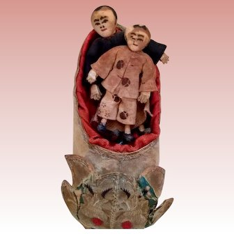 Asian Minature Folk art dolls in shoe. Very Unique