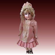 Rose Silk Bebe Dress and Bonnet for your Bru, Steiner, Jumeau
