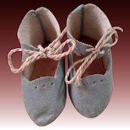 Antique Signed Jumeau Shoes Aqua Blue Free Shipping!