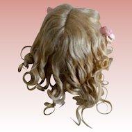 Fantastic Full Blonde Mohair Antique wig with original curls!