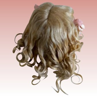 Fantastic Full Blonde Mohair Antique wig with original curls!