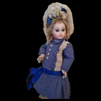 Pretty Deep Blue Bebe Dress and bonnet for your Jumeau, Bru Steiner Free Shipping!