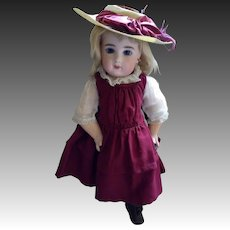 Deep Maroon Bebe Dress with matching Hat for your Bru, Steiner Jumeau! Free Shipping!