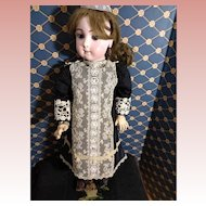 Striking Black silk and cream lace Bebe Dress for your French Doll