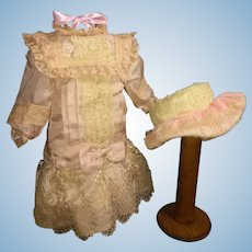 Peach and Cream Colored Silk and Lace French Bebe Dress