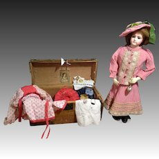 """20"""" Beautiful French bisque brown-eyed portrait poupee, size 8, by Jumeau with original body and Trousseau"""