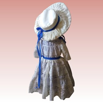 Exquisite bebe couturier Dress and Hat, beautiful antique lace