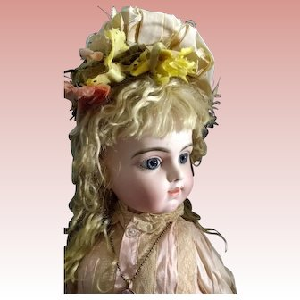 "24"" Transitional Bru Bebe ~ Pressed Bisque Head, Paperweight Blue Eyes"