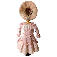 """Luxurious Rose French Bebe Dress With Bonnet for a 21"""" Bebe Doll"""