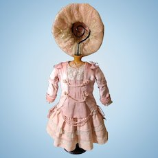 "Luxurious Rose French Bebe Dress With Bonnet for a 21"" Bebe Doll"