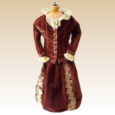 Rich Brown Velvet French Fashion dress